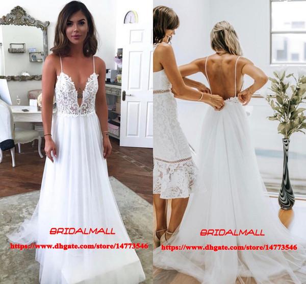 Spaghetti Straps 2019 Summer Appliqued Pearls Beach Boho Wedding Dresses Sexy Backless Outdoor Garden Bridal Gowns Cheap Vestidos De Novia