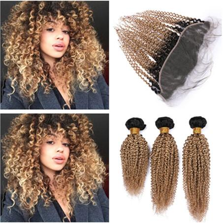 #1B/27 Honey Blonde Ombre Lace Frontal Closure 13x4 with Weaves 3Bundles 2Tone Ombre Kinky Curly Indian Virgin Hair Wefts with Frontals