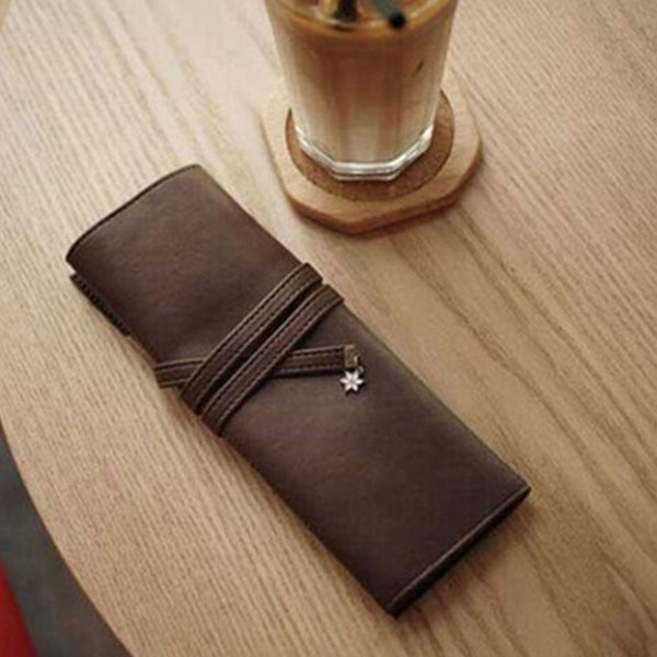 Brush Pen Case Fabala Bandage Pencil Case Soft Organizer Makeup Roll Leather Pouch School Stationery Retro Cosmetic Bag