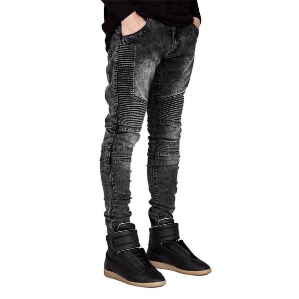 Но джинсы Runway Slim Racer байкерские джинсы модные хип-хоп джинсы скинни для мужчин H0292 SH190825