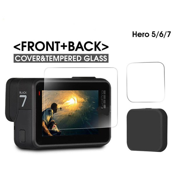 Tempered Glass Screen Protector GoPro Hero 7 6 5 Black LCD Screen Lens Cap