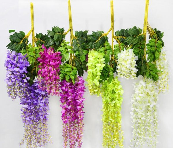 Wholesale 2016 New Hot Selling Wedding Decoration Silk Flower Garland Artificial Flower Wisteria Vine Rattan For Party