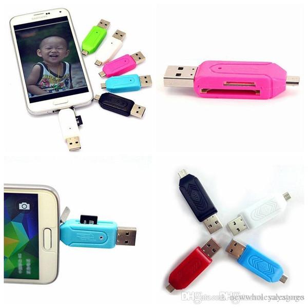 UK Gros USB 2.0 Micro USB OTG Adaptateur SD T-Flash Lecteur de Carte Mémoire pour Téléphone PC U69 Multi couleurs