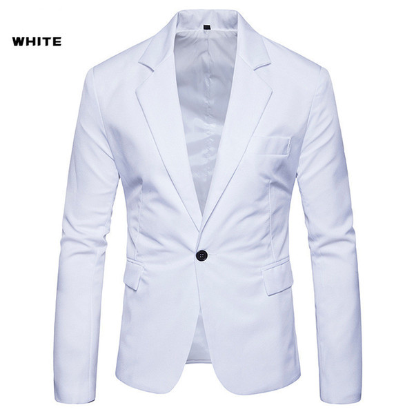 Solid With Button Designer Suit Jacket Fashion Lapel Neck Single Button Long Sleeve Casual Mens Clothing