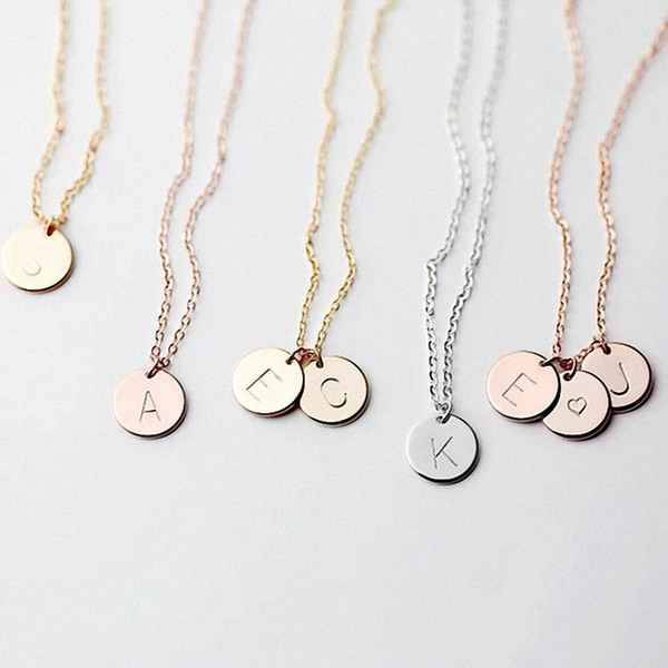 26 Letters Initial Necklace Silver Gold Color Disc Necklace Alphabet Women Kolye Collier Friends Family Letter Necklace Jewelry RRA2085