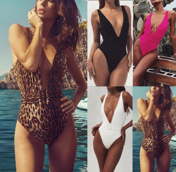 Damen Gürtelschnalle Leopardenmuster Bikinis Einteilige Bademode V-Ausschnitt Designer Sexy Bikini Bekleidung Mode Damenmode