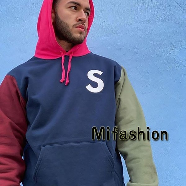 USA 19SS Fashion Box Logo S Logo Colorblocked Hooded Sweatshirt Winter Skateboard Fleece Embroidery Hoodie Men Women Street Hip Hop Hoody