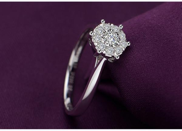 White 18K gold 1 carat diamond ring wedding proposal diamond ring custom platinum platinum for men and women