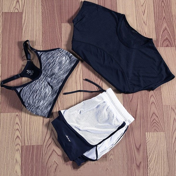 3 PCS Yoga Set Women Gym Clothing Top Bra Vest Running T-Shirt Fitness Shorts Pant Sports Workout Suit Set Female Sportswear