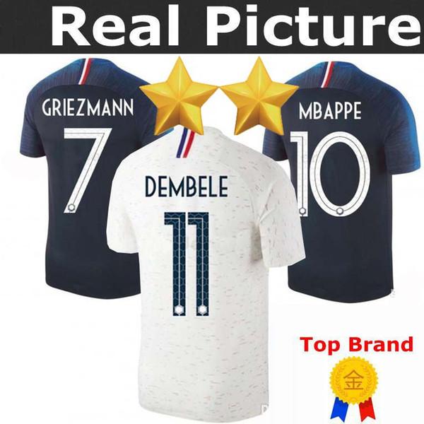 Acheter Maillots De Football 2 étoiles Griezmann Mbappe Pogba Thaïlande Maillots De Coupe Du Monde 2018 Dembele Martial Kante Chandails De Football