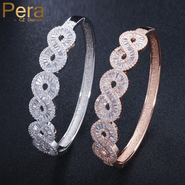 Pera High Quality AAA+ Micro Pave Cubic Zirconia Big Geometric Shape Rose Gold Color Open Cuff Bangle Jewelry for Women Z029
