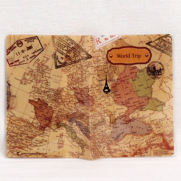 2018 New World Trip Map Cubiertas de pasaportes de viaje para hombres, cuero PVC ID Card Bag Pasaporte titular Pasaporte Carteras 14 * 10 cm