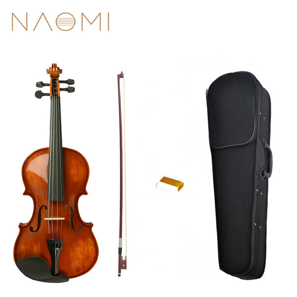 best selling NAOMI Acoustic Violin 4 4 Size Violin Fiddle Vintage Gloss Finishing With Case Bow Rosin SET