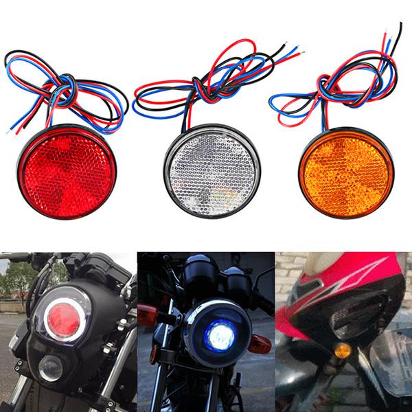 1 adet 12 V Araba Motosiklet LED Reflektör Lamba Beyaz Kırmızı Sarı Yuvarlak Arka Kuyruk Fren Dur Marker Işık Için Motosiklet Scooter