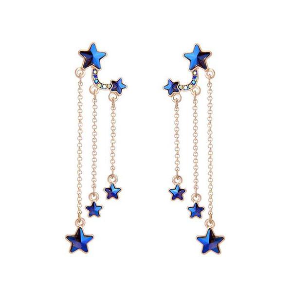 Hot Sale Blue Stars Tassel Long Earrings Delicate Alloy Vintage Drop Earring for Elegant Girls Women Fashion Jewelry