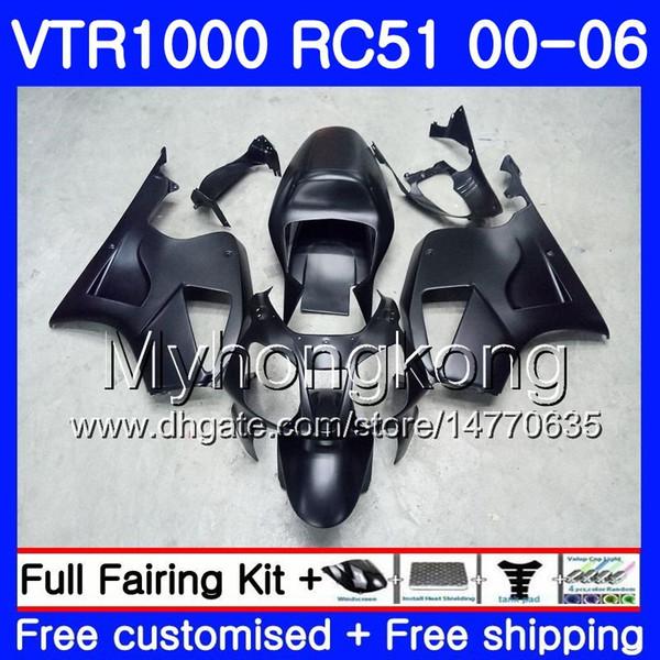 Kit Matte black hot For HONDA VTR1000 RC51 SP1 SP2 00 01 02 03 04 05 06 257HM.7 RTV1000 VTR 1000 2000 2001 2002 2003 2004 2005 2006 Fairing