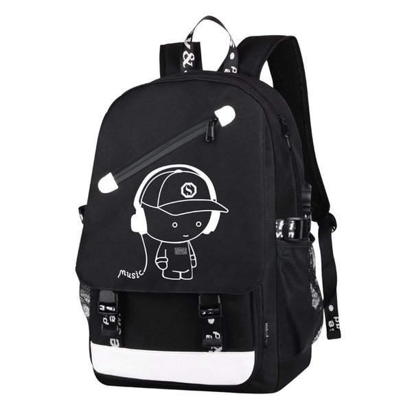 Backpack Women Girl Cute Oxford Zipper USB Charge School Backpack Men Travel Sac A Dos Male Multifuntion Laptop Trolley