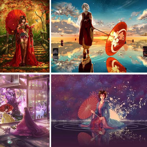 Полный квадрат дрель 5D diy Алмаз живопись девушка аниме Алмаз вышивка красный зонтик красивые пейзажи горный хрусталь домашнего декора X81