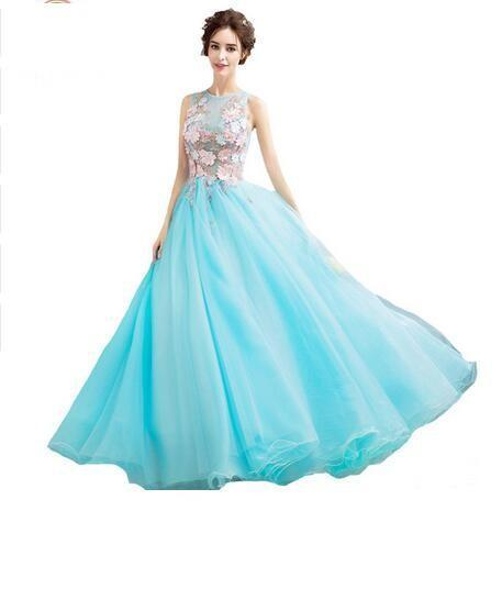 2019 New Sweet Light Blue Lace Flower Evening Dress Bride Banquet Sleeveless Floor-length Prom Formal Dress Party Gown 491