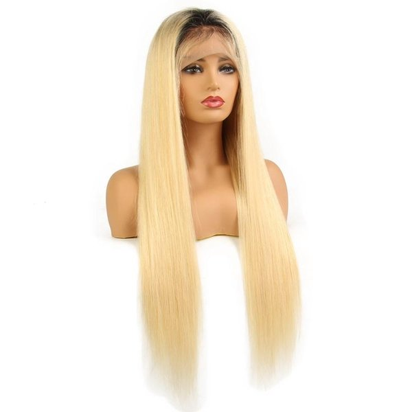 LIN MAN Straight Ombre Black 1b 613 Glueless Full Lace Wigs Remy Human Hair with Baby Hair Dark Roots Blonde for Women