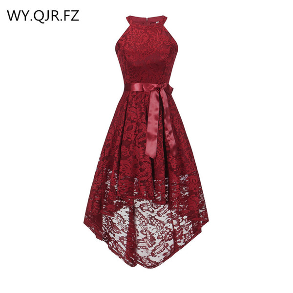 OML526J#Front short long back wine red halter Bow Bridesmaid Dresses wedding party dress prom gown wholesale fashion
