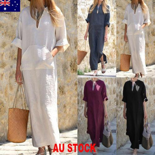 2018 New Fashion Hot Popular Women Summer Holiday Party Pocket Long Maxi Linen Ladies SunDress Beach Dress
