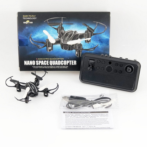 MINI Drone V-MAX RC Quadrocopter 4CH Easy to Operate Foldable Helicopter Brushless Motors Max 5mins Flight Time Carton Box packages Black