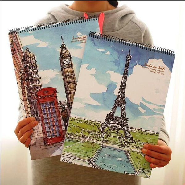 """""""go Travel"""" Big Sketchbook Drawing Notepad Blank White Papers Study School Working Notebook"""