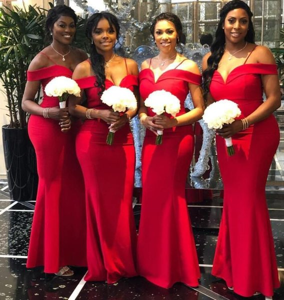 2019 modest African Off The Shoulder Satin Mermaid Long Plus Size Bridesmaid Dresses Ruched Floor Length Wedding Guest Maid Of Honor Dresses