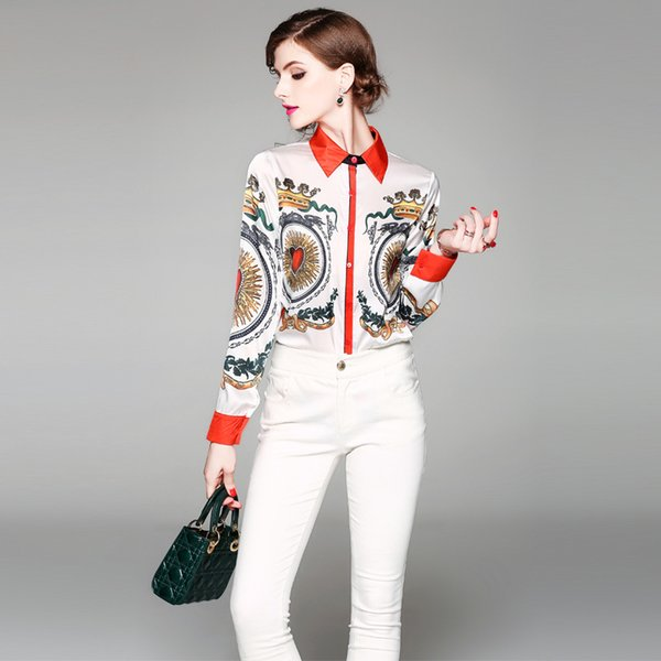 Blusas y blusas estampadas para mujer Camisa con cuello vuelto de manga larga de primavera 2018 Blusa de gasa de oficina para mujer Streetwear