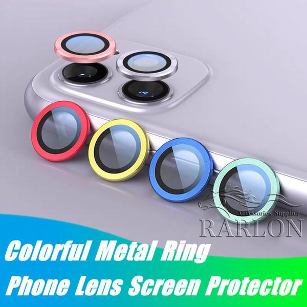 Yeni Stil Telefon Mercek Ekran Koruyucu iPhone 11 pro max 11Pro 3D Full Geri Kamera temperli cam Film Alüminyum Metal Lens Kutusu