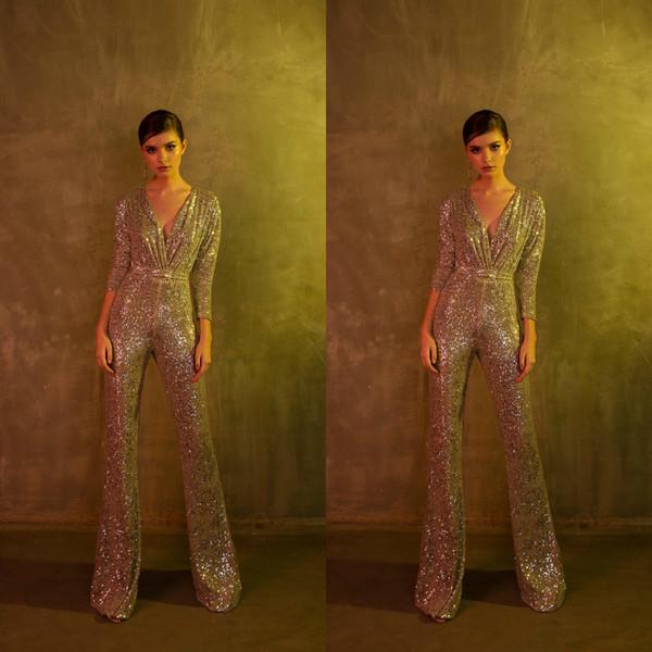 Sequined Berta 2019 Jumpsuits Prom Dresses V Neck 3/4 Long Sleeve Vestidos De Fiesta Floor Length Cheap Evening Dress Formal Woman Pants
