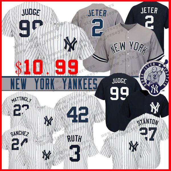 New York 99 Aaron Judge Yankees Jersey 2 Derek Jeter 23 Don Mattingly 24 Gary Sanchez 27 Giancarlo Stanton 13 Alex Rodriguez Maglie