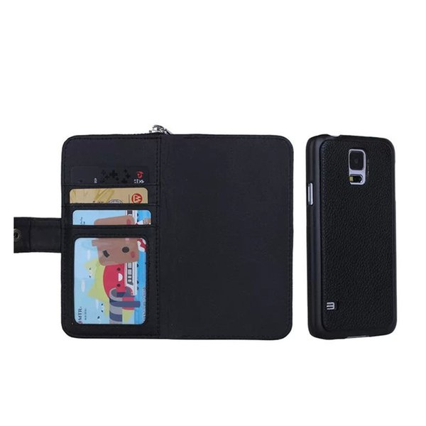 Black Wallet Leather Case with Detachable Back Case Zipper Card Holders Lanyard Cases Cover with Coin Purses for Samsung S4 S5 Note4