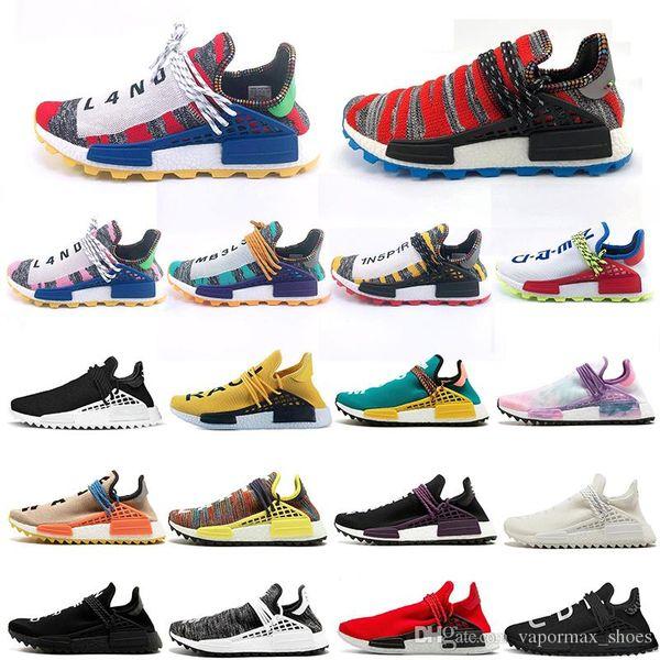 2019 Human Race Outdoor Shoes Pharrell Williams Run Shoes Hu trail NERD Afro For Men Mujeres Lienzo Blanco Nerd Negro