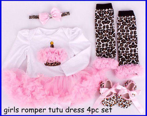 10% de desconto meninas natal macacão tutu dress set bebê halloween romper dress + bebê plissado legwarmer + baby walking shoes + girl headbands