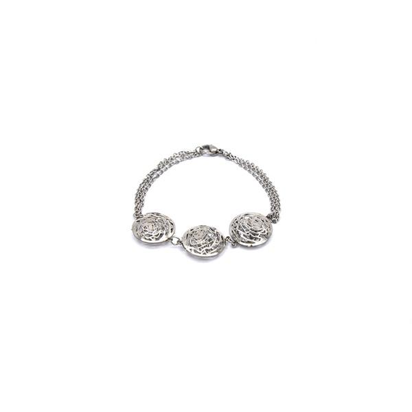 großhandel edelstahl silber armbänder aushöhlen gravierte blumen luzenz kristall für frauen br051719