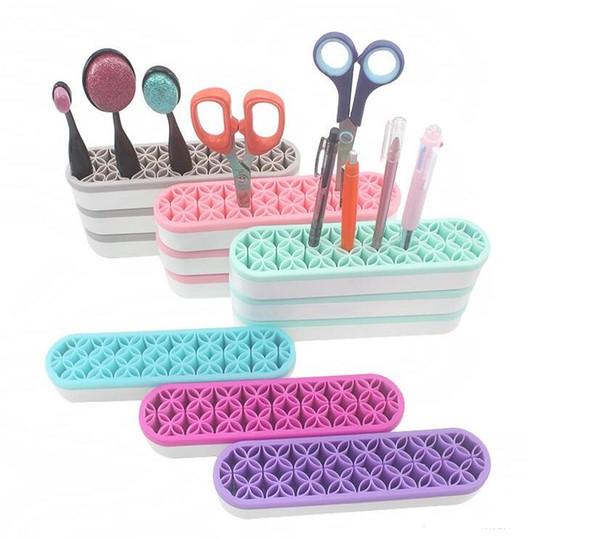 Trucco silicone Holder spazzola del sopracciglio ombretto Stmap spazzola mensola morbido silicone Cosmetic Beauty Case Accessori cosmetici Organizzatore