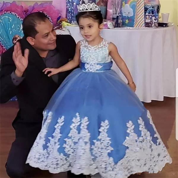 Lovely Blue Flower Girl Dresses for Wedding 2019 Jewel Appliques Ball Gown Bow First Communion Dress Girls Pageant Party Gowns