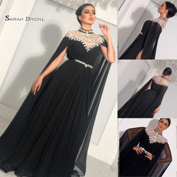 2019 Sexy Evening Dresses High Neck Beaded A Line Sash Chiffon Sweep Train Long Sleeves Celebrity Party Prom Gown