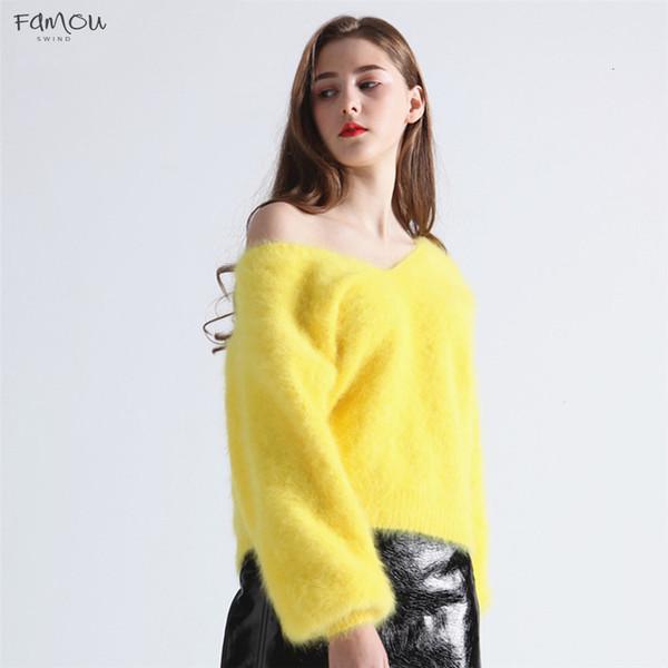 Kazaklar Süveter Vizon Moda Örme Kış Kadın V-Yaka Fener Kol Kaşmir Angora Tavşan Kalın Sıcak tutun