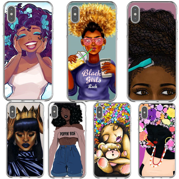 Afro Black Girl Magic Melanin Phone Case For Iphone X Xr Xs Max Silicone Tpu Phone Cover For Iphone 5 5s Se 6 6s 7 7plus 8 8plus