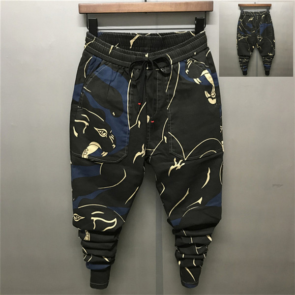 New Men Pencil Pants Print Slim Big Crotch and Pockets Male Personality Casual Long Jogging Pants
