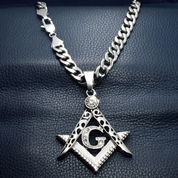 Men White gold Tone stainless steel Freemasonry Masonic Mason Pendant Free chain necklace N242-361