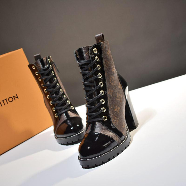 2020W new trend leather casual shoes fashion wild ladies short boots printing motorcycle boots LuxuryLouisVuittongucci size 35-40