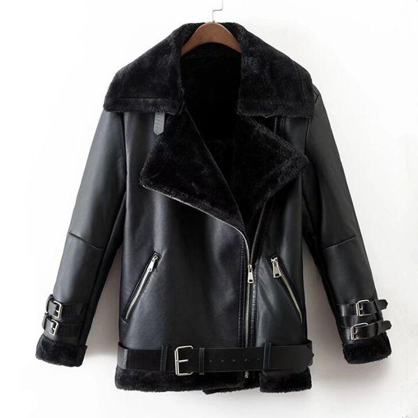 Inverno 2018 similpelle rivestimento delle donne punk Black Ladies Bomber vestiti di inverno del collare Top Coat