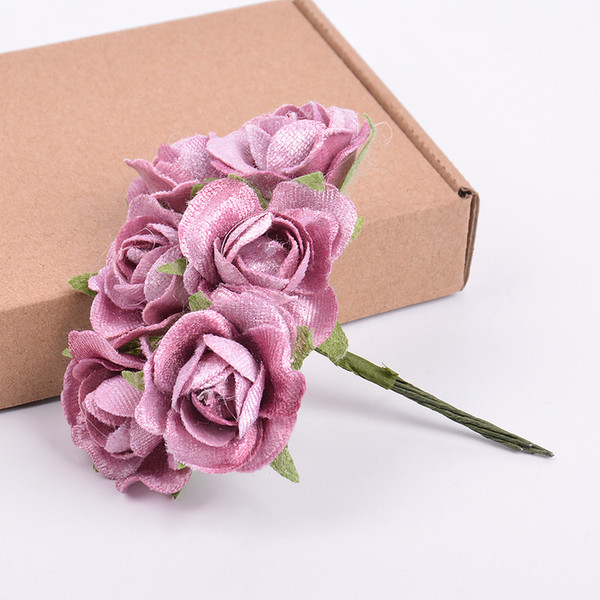 6pcs/lot high quality artificial flower silk rose bouquet For wedding home decoration DIY wreath scrapbook shoes and clothing