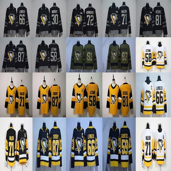 the latest a2dac 5ef79 2019 Pittsburgh Penguins 87 Sidney Crosby Hockey Jerseys 58 Kris Letang 71  Evgeni Malkin 72 Patric Hornqvist 81 Phil Kessel 59 Jake Guentzel From ...