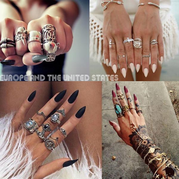 Nuevo 16 colores MIOBLET 24pcs Mate largo cubre las puntas de las uñas Uñas falsas artificiales Presione en las puntas para pegatinas de diseño para los dedos