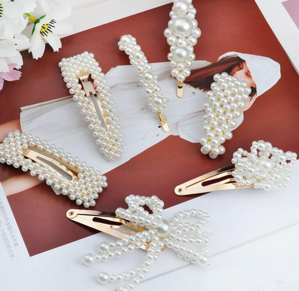 Free DHL 14 Styles Fashion Boutique Hair Clip Women Barrettes Jewelry Alloy Pearl Hairpin Children Girl Barrette Baby Hair Accessories M046F